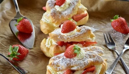 Homemade Eclairs With Strawberries